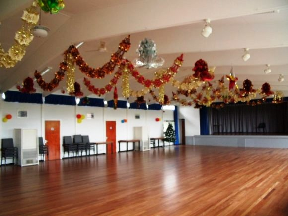 christmas decorations at the village hall